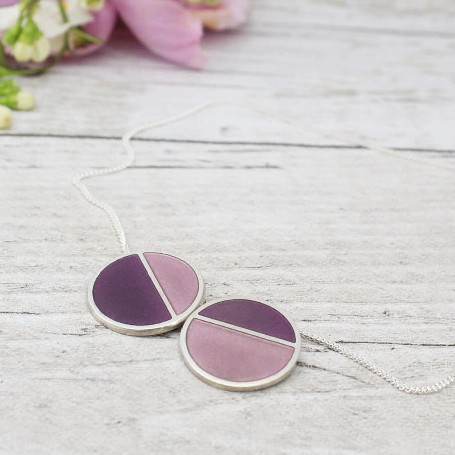 Horizon Large Double Pendant - Purple and Petal