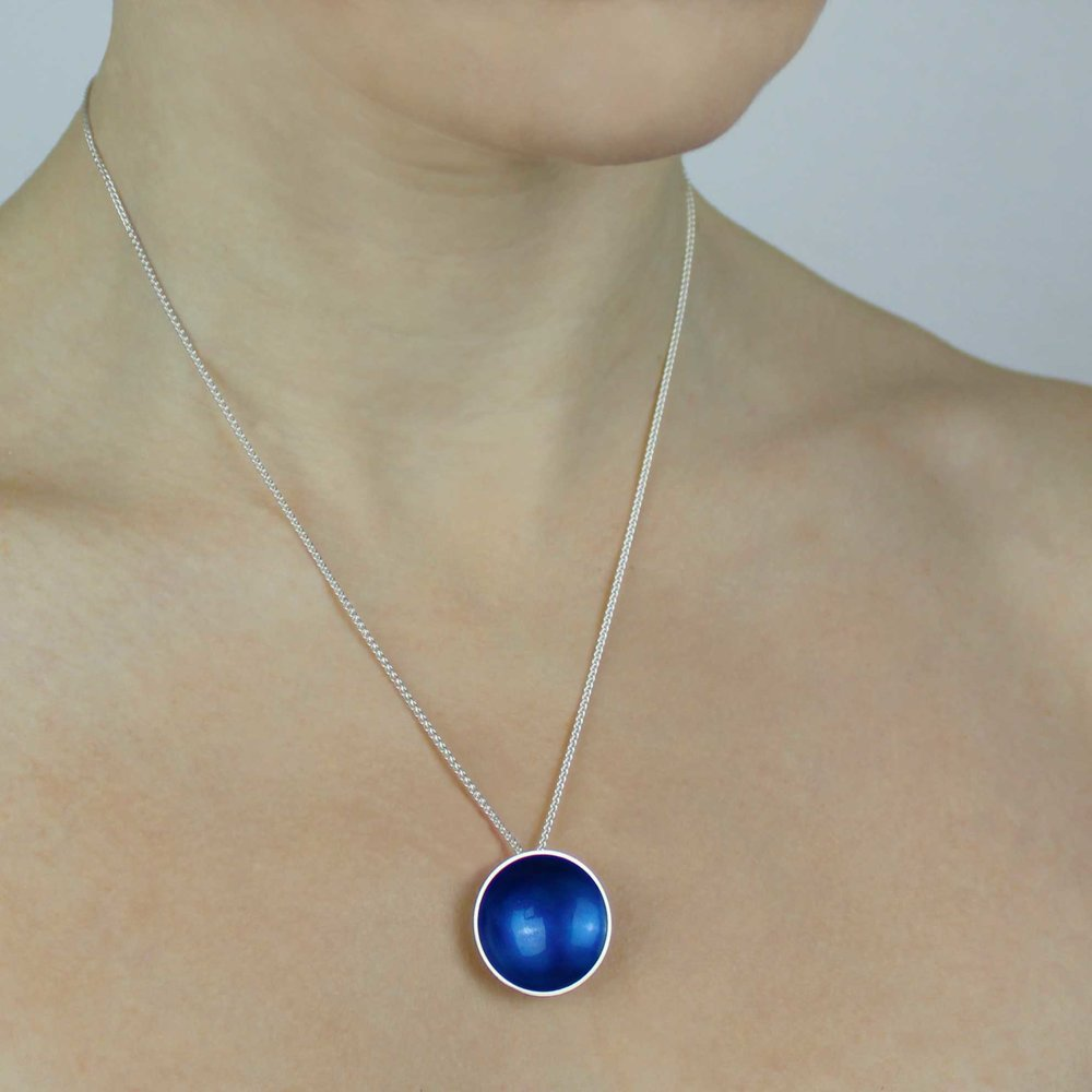Halo Silver and Enamel Pendant - Large (16 colours available)