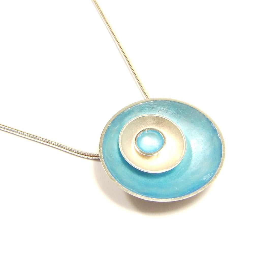Triple Halo Silver and Enamel Pendant (16 colour options available)