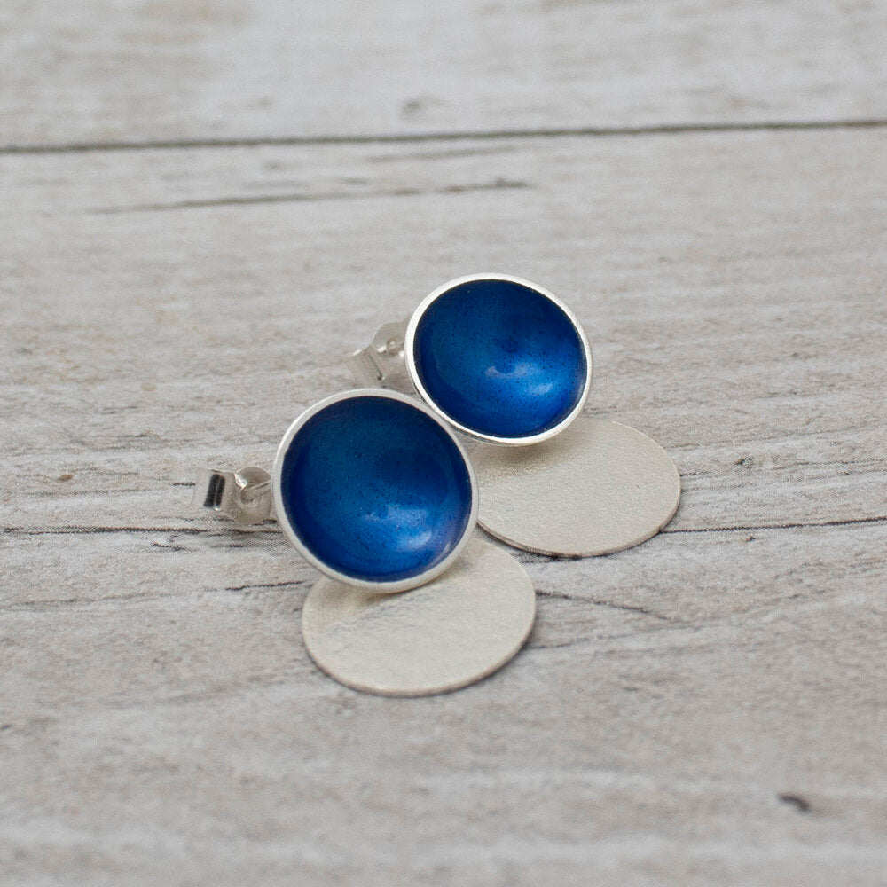 Halo Enamel Studs with Textured Silver Drop Detail - Medium (16 colours available)