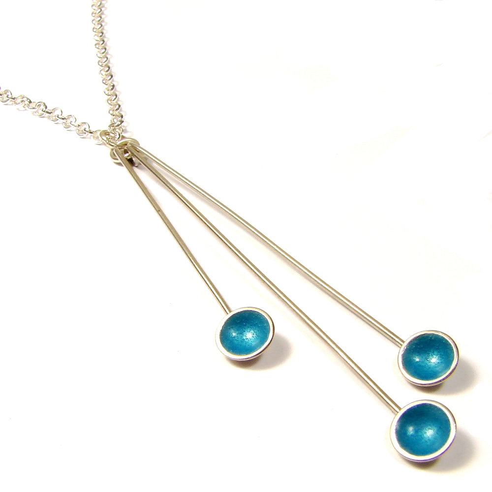 Triple Droplet Silver and Enamel Pendant (16 colours available)