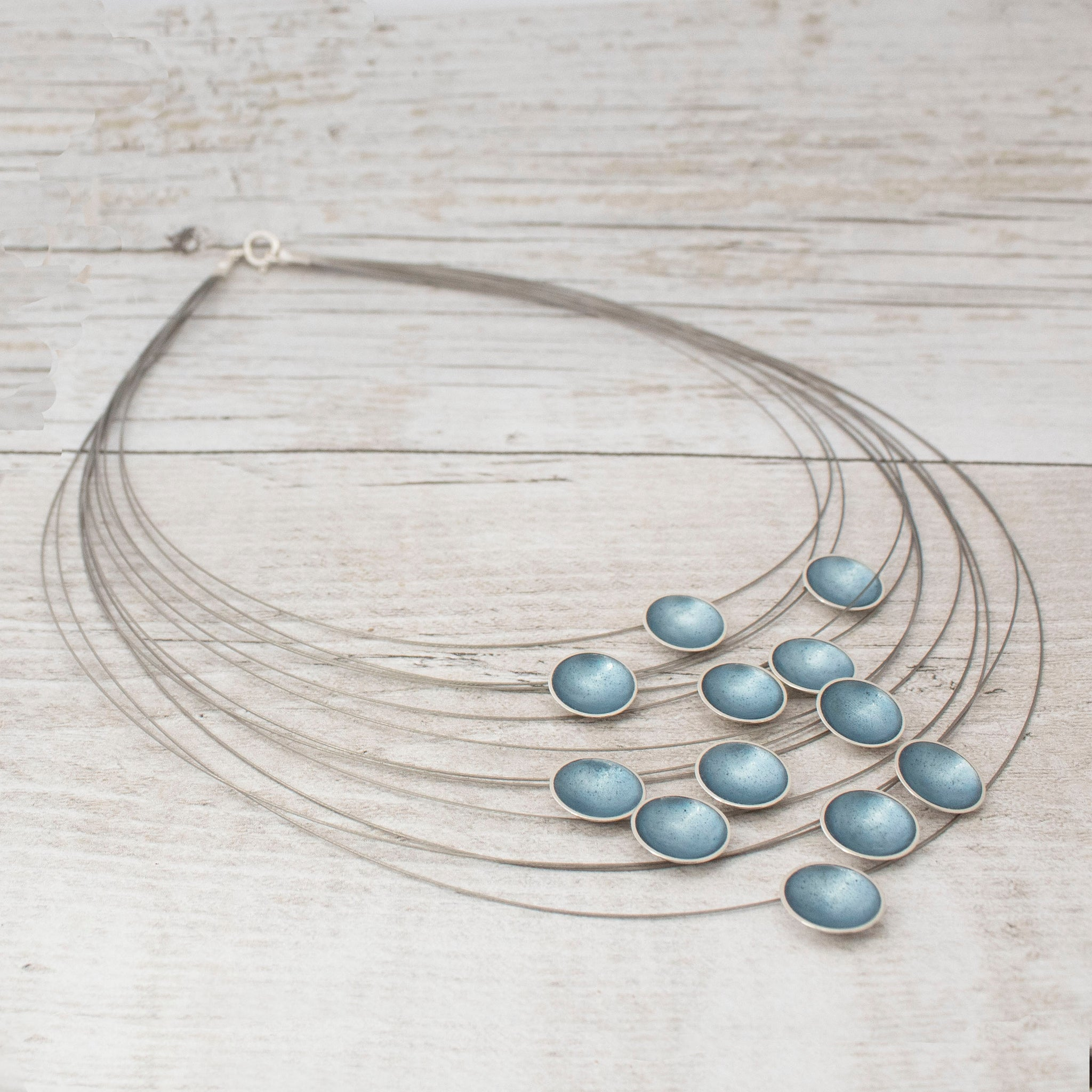 Halo Silver and Ice Enamel Multi Strand Necklace