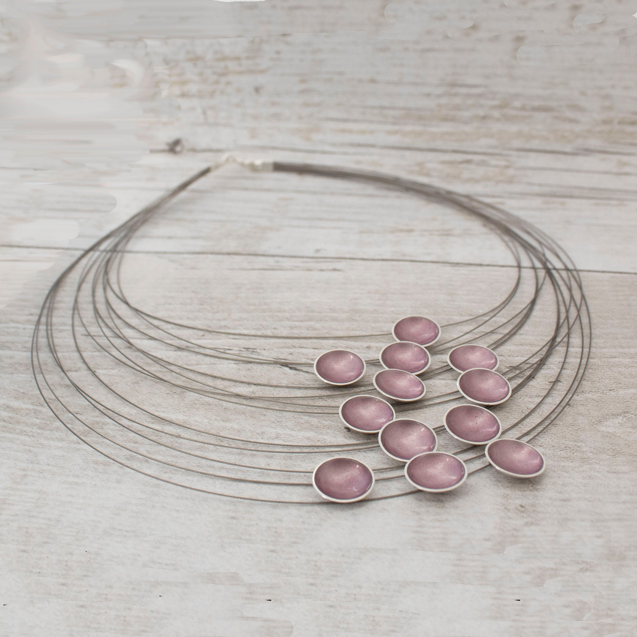 Halo Silver and Enamel Multi Strand Necklace - Petal