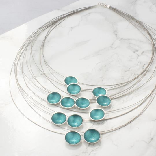 Halo Silver and Teal Enamel Multi Strand Necklace