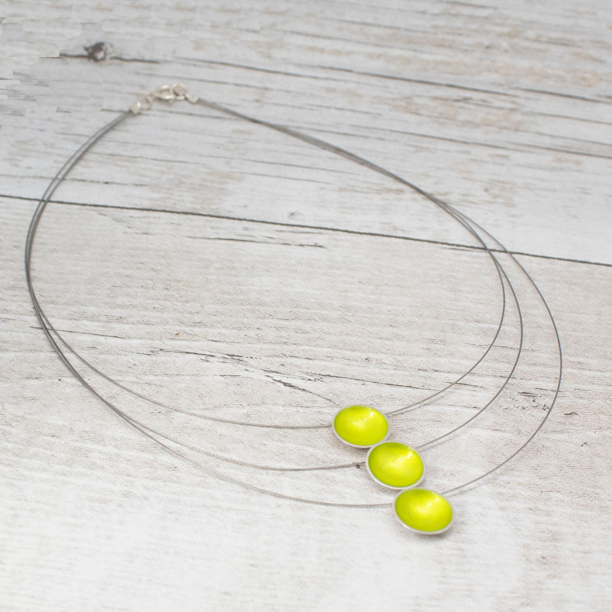 Halo Silver and Enamel Triple Strand Necklace