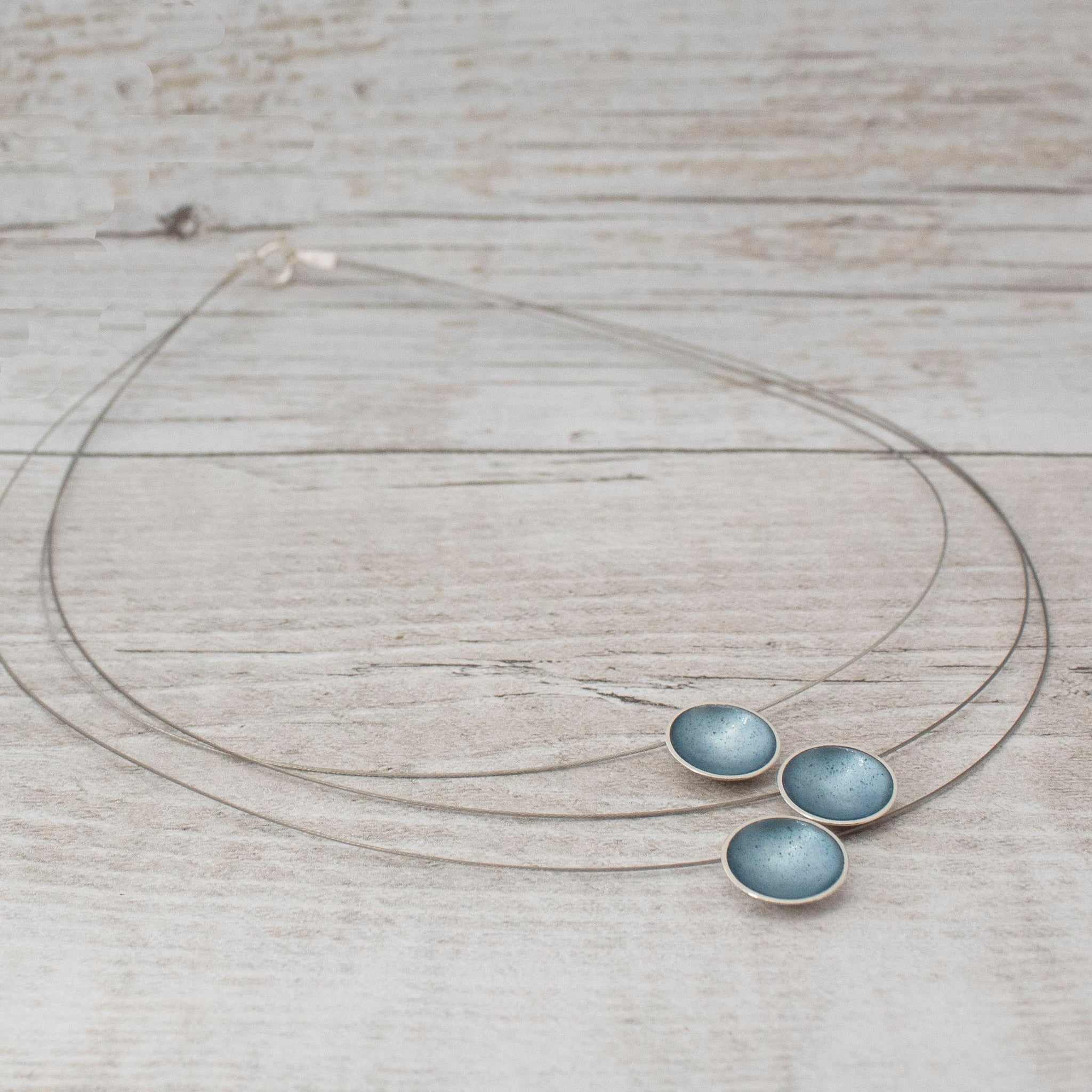 Halo Silver and Enamel Triple Strand Necklace - Ice