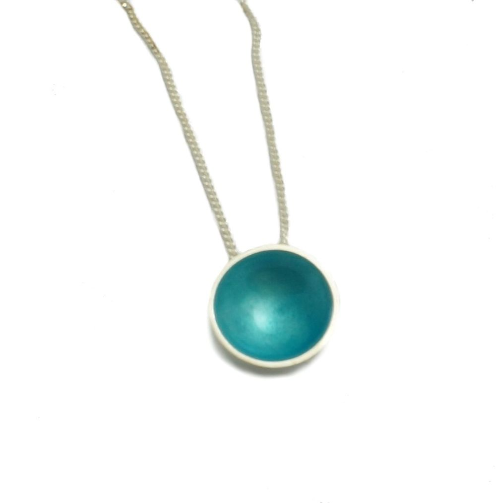 Halo Silver and Enamel Pendant - Midi - (16 colours available)