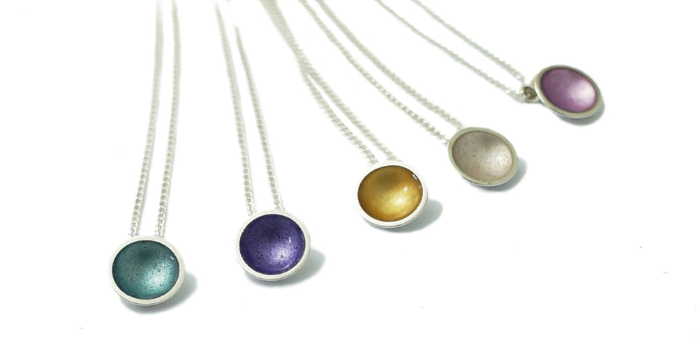 Halo Silver and Enamel Pendant - Mini - (16 colours available)