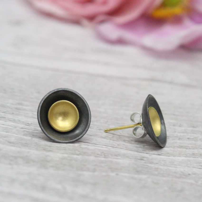 Large Halo Two-in-One Studs - Black and Gold