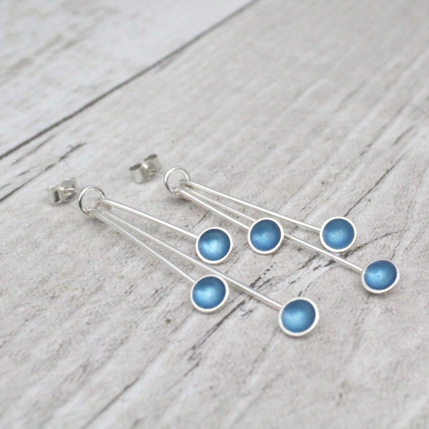 Triple Droplet Silver and Enamel Earrings (16 colours available)