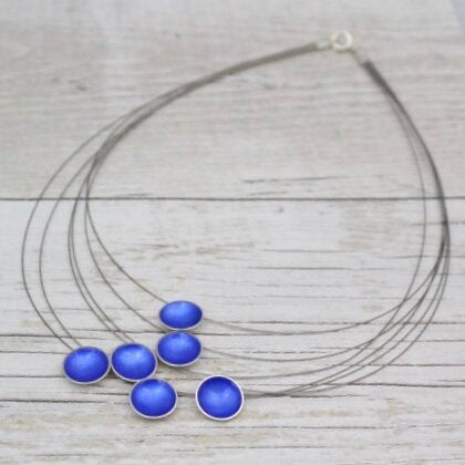 Halo Six Strand Silver and Enamel Necklace (over 16 colour options available)