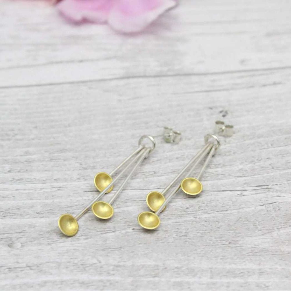 Triple Droplet Earrings - Gold-Plated