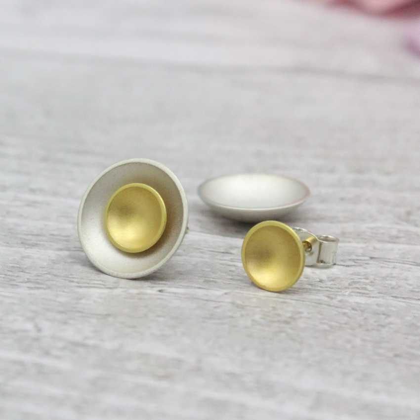 Halo Two-in-One Silver Studs - Large - Silver and Gold