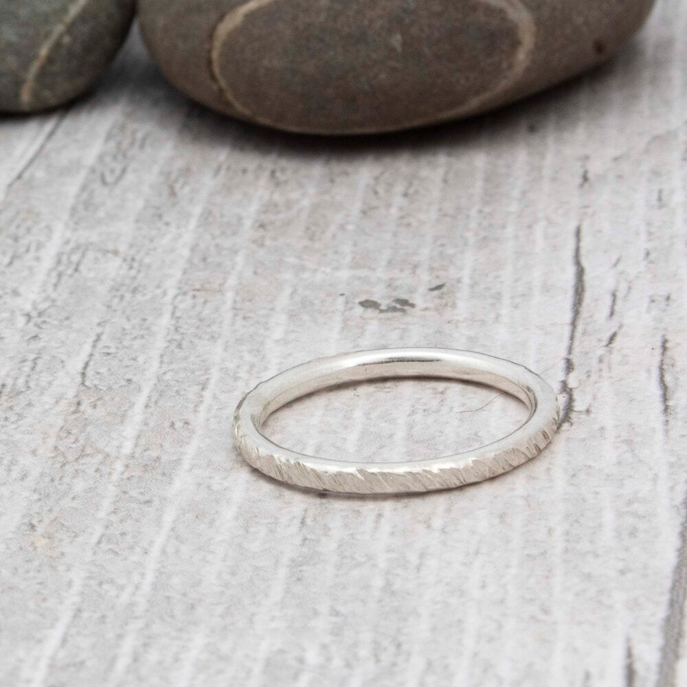 Textured slim silver band rings