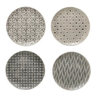 Stoneware Plates with Embossed Pattern - 4 styles