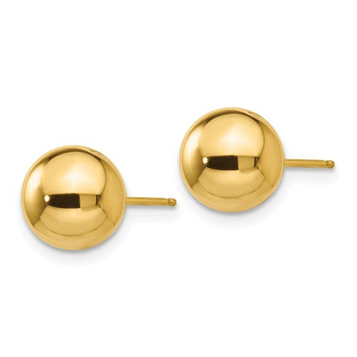 14k yellow gold polished 5mm ball post earrings