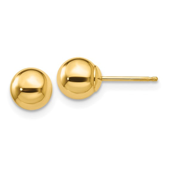 14kt yellow gold polished 6mm ball post earrings