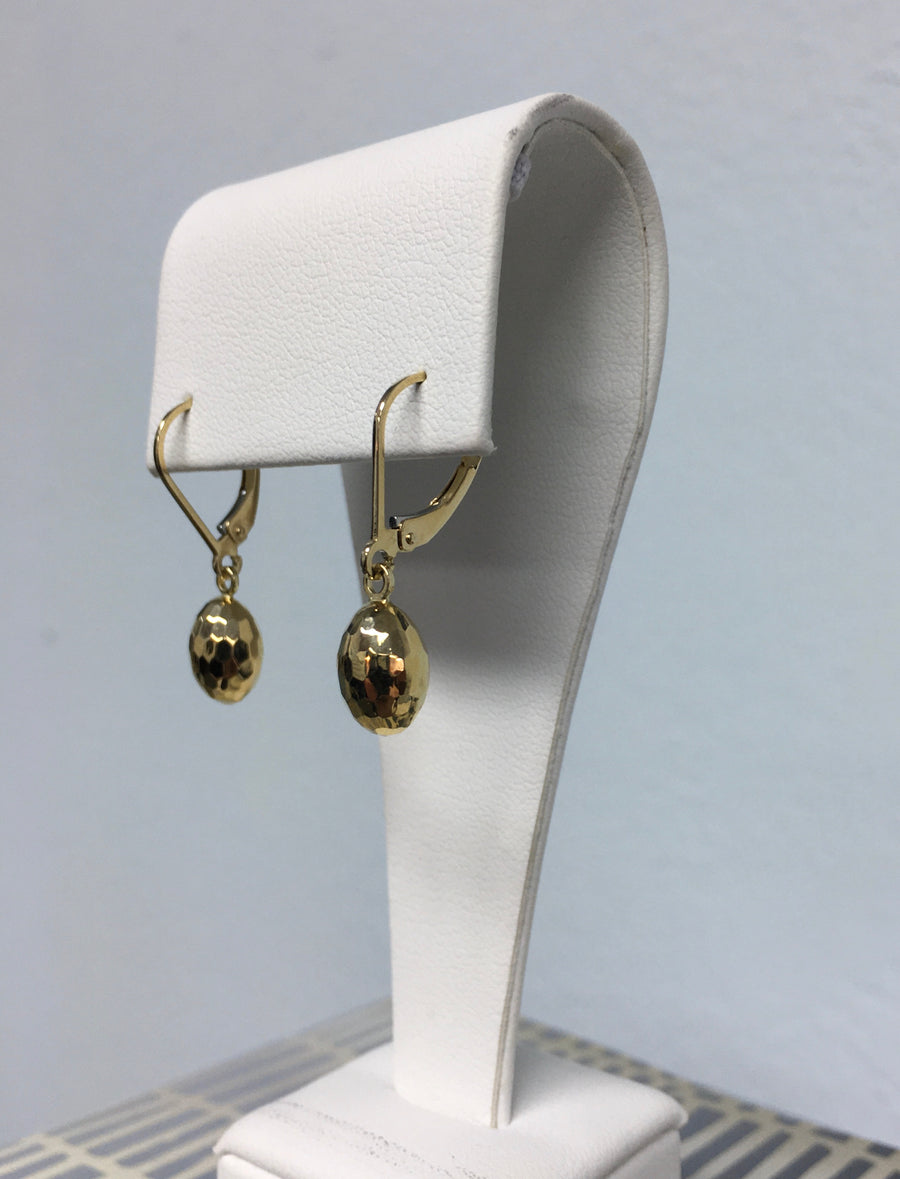 14k yellow gold mirror diamond-cut dangle egg-shaped earrings