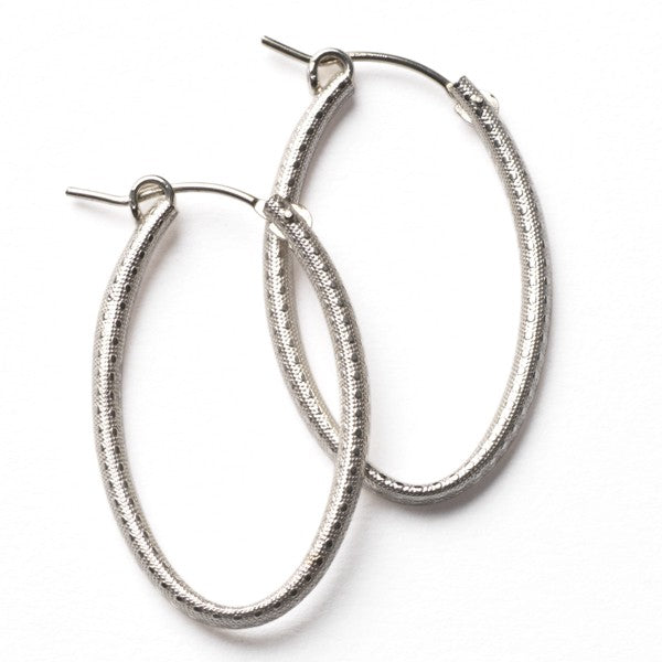 Southern Gates: 30mm sterling silver oval textured hoop earrings