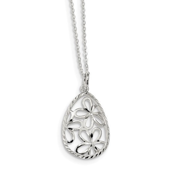 Sterling silver floral teardrop necklace
