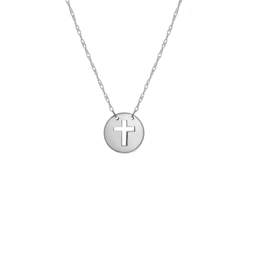 14k white gold mini disk cut-out cross necklace