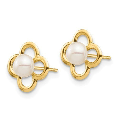 14k yellow gold 4-5mm white button freshwater pearl earrings