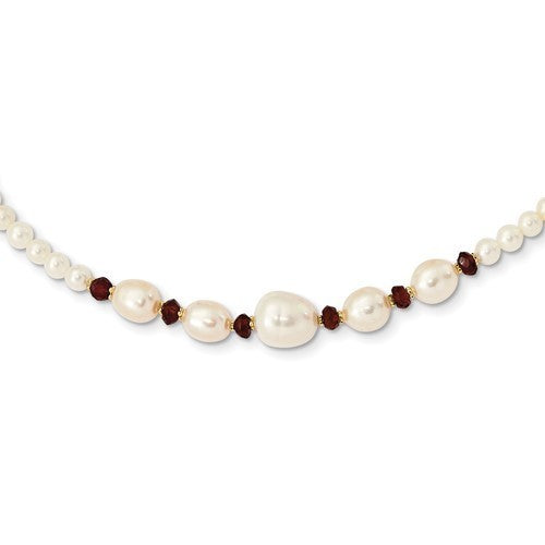 14k white gold white freshwater cultured pearl with garnet bead 18