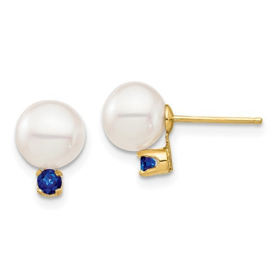 14kt yellow gold 7mm white freshwater pearl with sapphire stud earrings