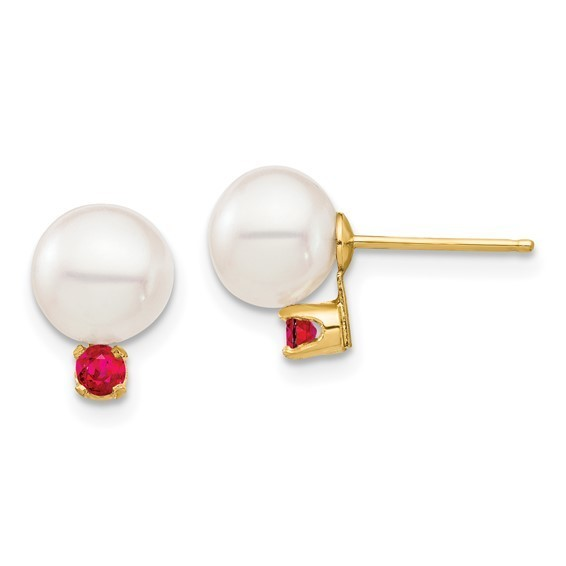 14kt yellow gold 7mm white freshwater pearl with ruby stud earrings
