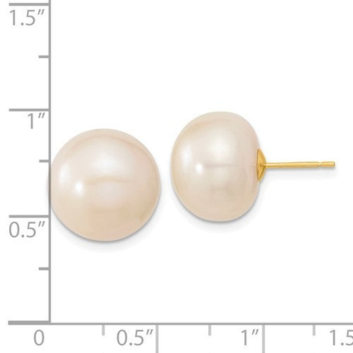 14k yellow gold 13-14mm white button freshwater pearl post earrings