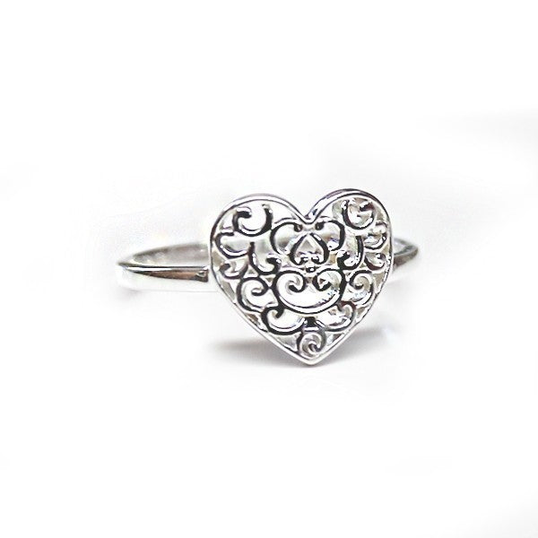 Southern Gates: Sterling silver heart ring, size 6