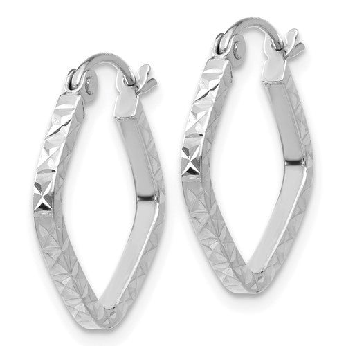 14K White Gold Diamond Cut Squared Hoop Earrings