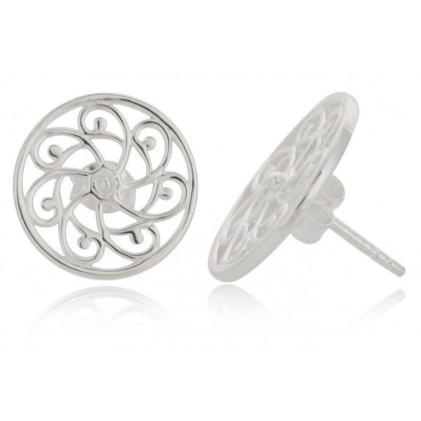 Southern Gates: Sterling silver pinwheel stud earrings