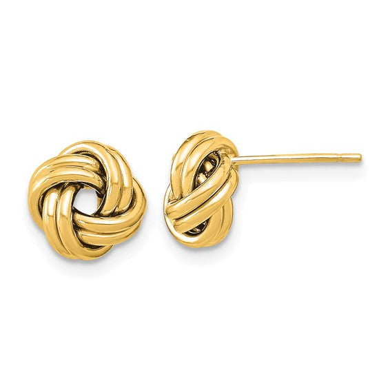 14k yellow gold double love knot post earrings