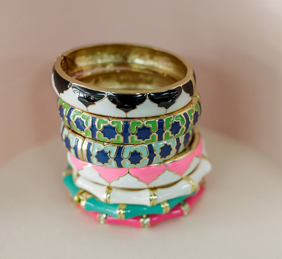 Mosaic gold and aqua hinged bracelet