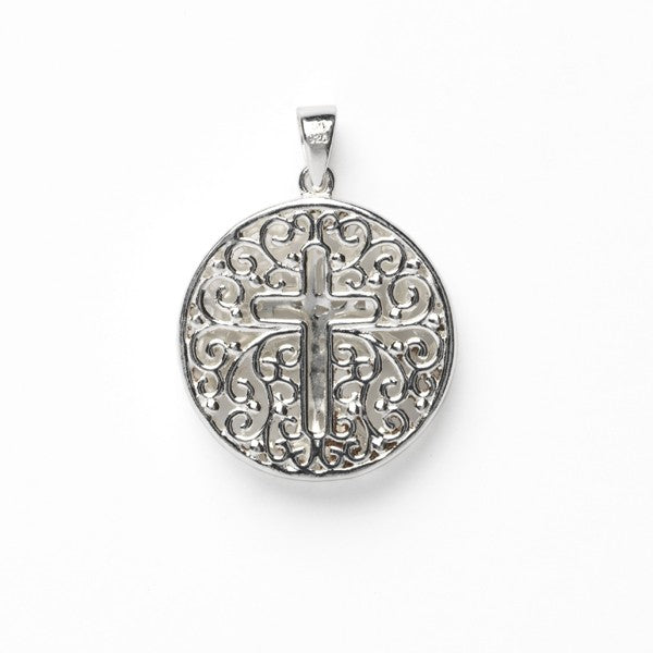 Southern Gates: Sterling silver double-sided round tree and cross pendant