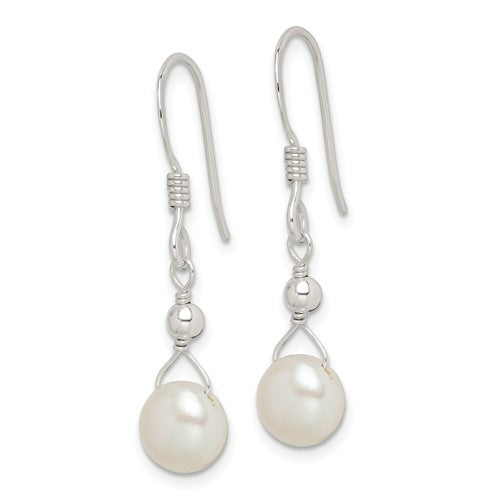 Sterling silver freshwater cultured pearl dangle earrings