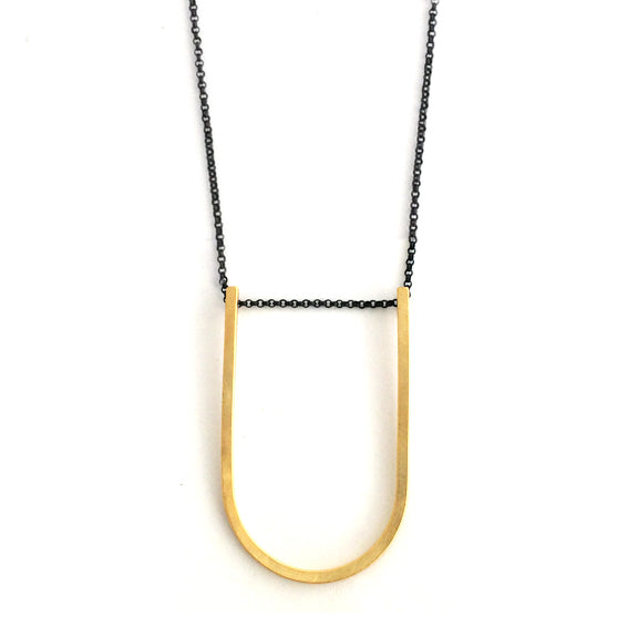 Big U shape long necklace /  שרשרת U ארוכה