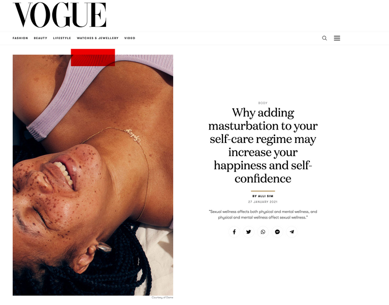 Vogue: Why adding masturbation to your self-care regime may increase your happiness and self-confidence