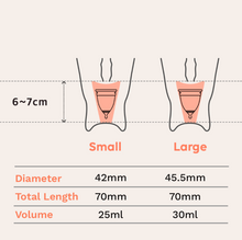 Load image into Gallery viewer, EVE menstrual cup sizing guide