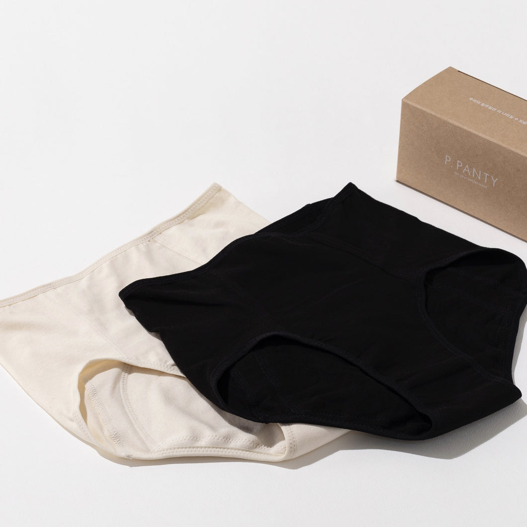 EVE period panty in natural and black