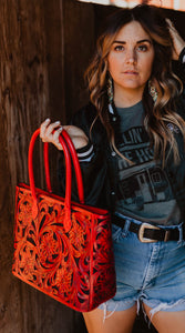 Leather Floral Tote