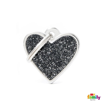SMALL HEART GLITTER BLACK