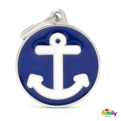 Blue & White Anchor (Customizable) Engraved ID Dog Tag