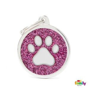 Pink Glitter Paw (Customizable) Engraved ID Dog Tag