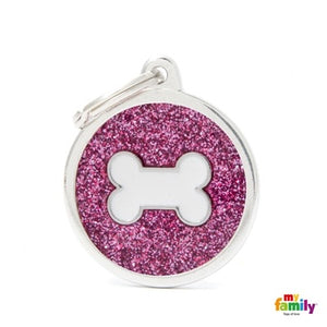 Pink Glitter Bone (Customizable) Engraved ID Dog Tag