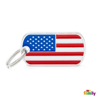 USA Flag ID Dog Tag