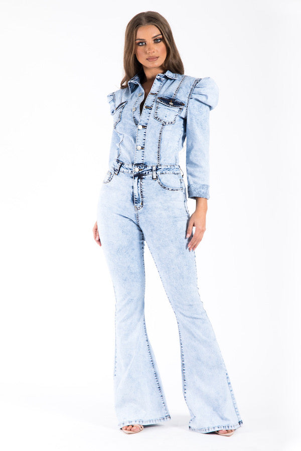 Royal Flare Denim Jumpsuit