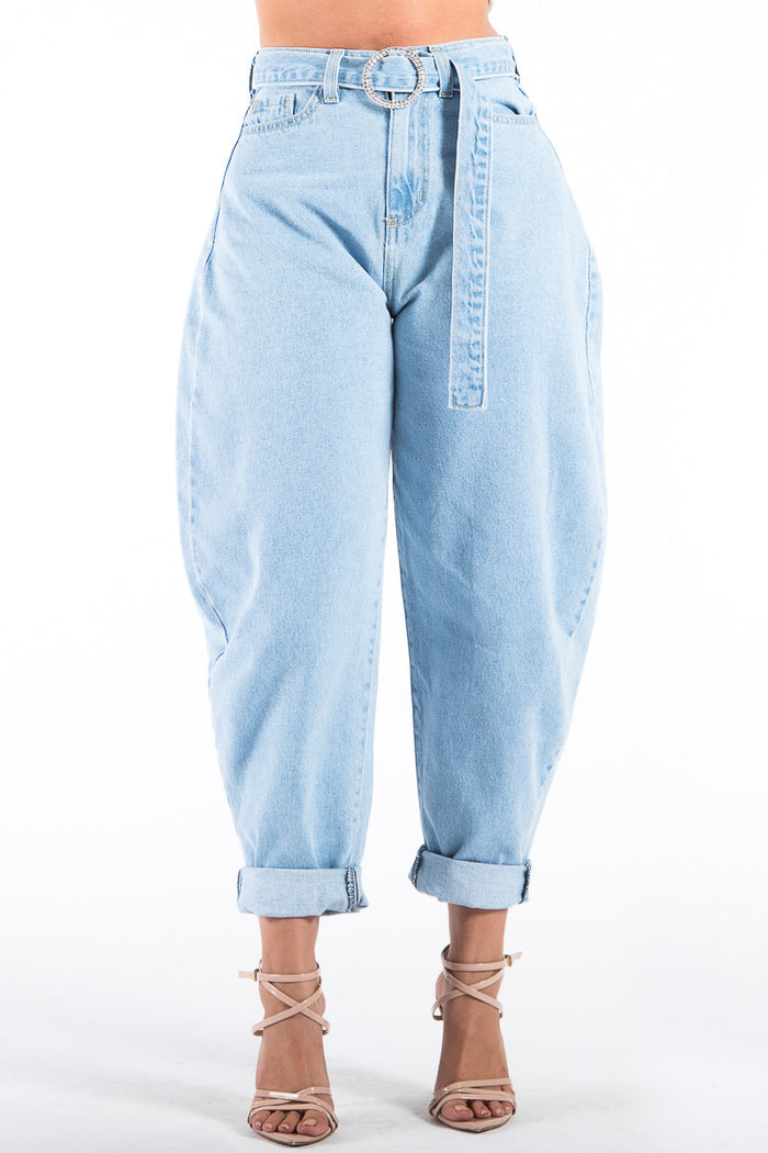 Slouch Denim Pants in Light Blue