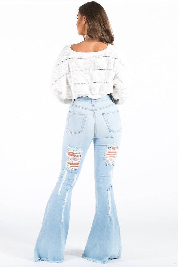 Torri Flare Denim Jean in Light Blue
